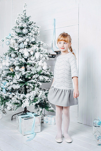 Child lace gray dress with low waist