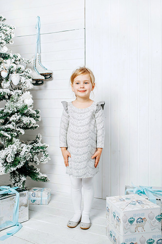 Gray child dress-trapeze with sleeves-wings