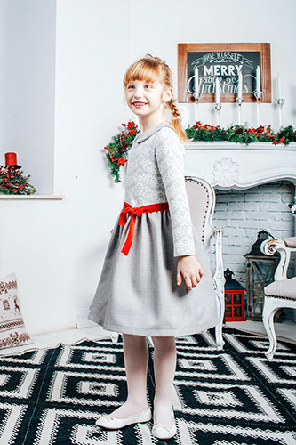 Child gray lace dress with a collar