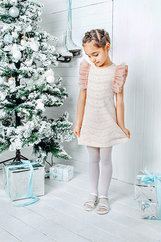 Child lace pink dress with lush ruffles