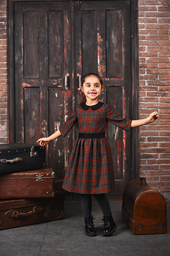 Plaid Tweed Dress for Girls with a collar